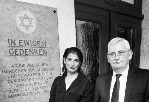 Marcella Reinhardt und Alexander Mazo (Präsident der IKG Schwaben‐Augsburg)